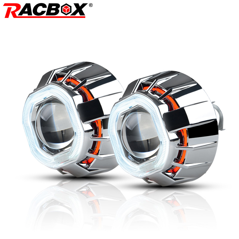 RACBOX 3 inch H1 HID Bi Xenon Projector Lens with White Red Blue Double Angel Eye CCFL Square Styling Headlight For Automobile цена и фото