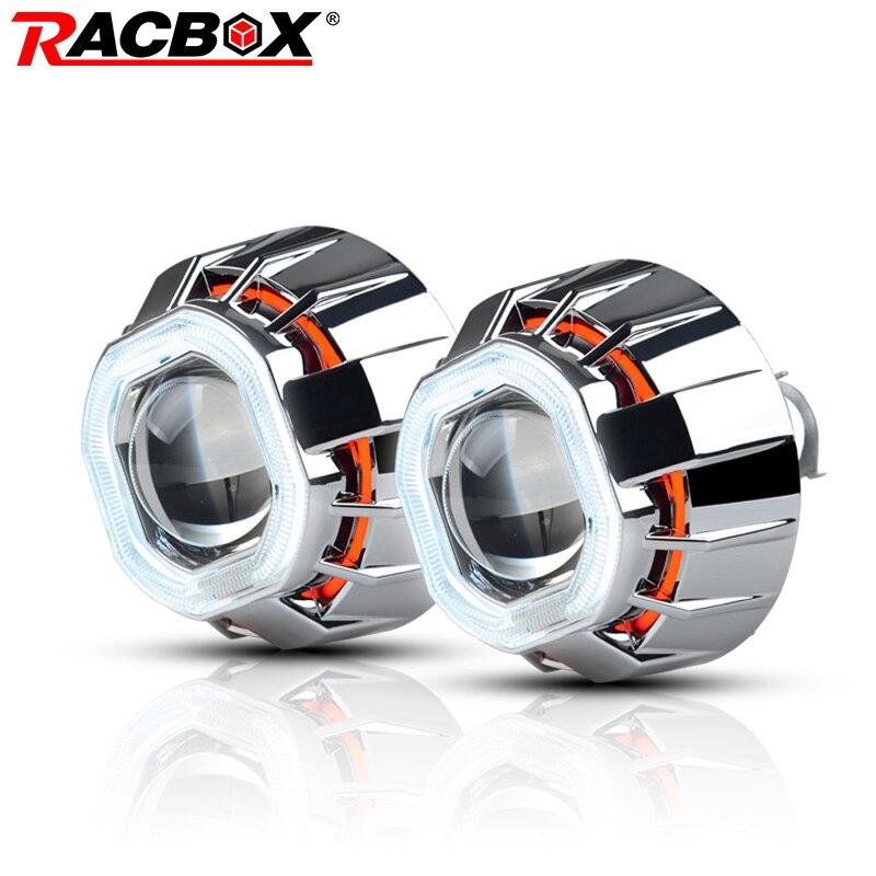 RACBOX 3 pouces H1 HID Bi lentille de projecteur xénon avec blanc rouge bleu Double Angel Eye CCFL phare de style carré pour Automobile