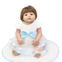 23 Inch Lifelike Newborn Baby Dolls Real Looking Full Silicone Vinyl Girl Babies Birthday Xmas Gift Free Magnet Pacifier Dummy