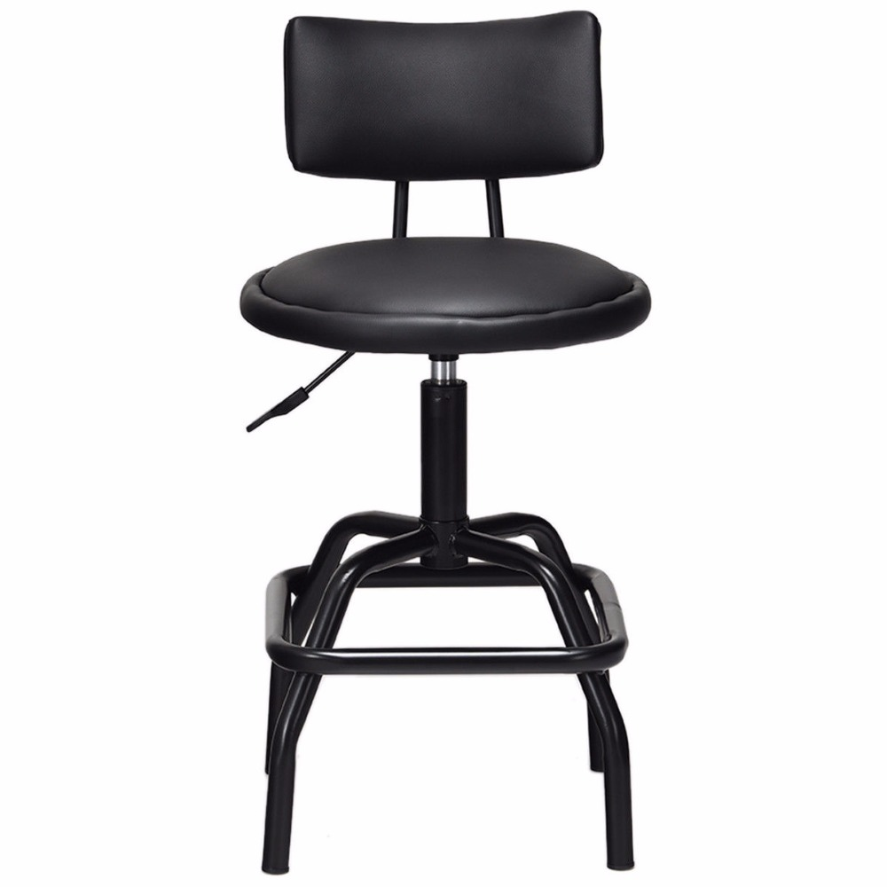 Giantex Adjustable Swivel Vintage Bar Stool PU Leather Steel Frame W/ Backrest Kitchen Bar Furniture HW59877