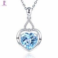 Lohaspie алмаз украшения Природный камень голубой топаз SOLID 14 К белый золотой кулон сердце для подарок на день рождения w/ серебряная цепочка