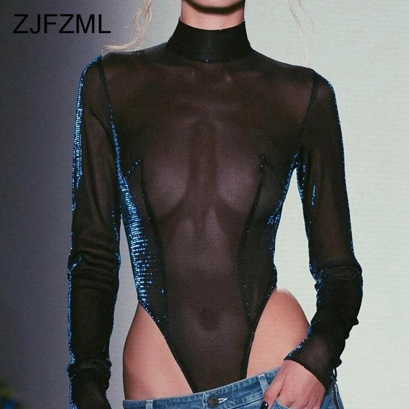 Transparent Mesh Shiny Sexy Bandage Bodysuit Women Long Sleeve Turtleneck Rompers Womens Hollow Out Club Bodycon Jumpsuits