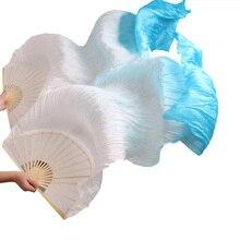 Новое поступление, высокое качество, натуральный шелк, ткань для вееров, 1 пара, ручная работа, для женщин, шелк, танец живота, веера, белый+ бирюзовый, 180*90