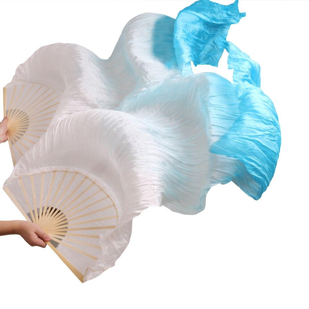 Nuovo Arrivo 2018 di Alta Qualità 100% Tessuto Di Seta Reale Fan 1 coppia Handmade Delle Donne di Seta Fan Danza Del Ventre Bianco + Turchese 180*90