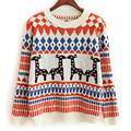 High Quality Wool sweater Women Korean cute deer geometric pattern pullover female autumn winter Knitted Sweater Top for Women