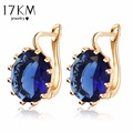 17KM 4 Colors Steampunk Gold Color Blue Crystal Flower Stud Earrings for Women Gothic Wedding Earring Love Statement bijoux