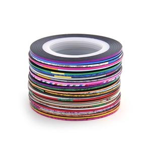Image 2 - 30 рулонов + 1 чехол, разные цвета, рулоны, полосатая лента, линия, сделай сам, украшения ногтей, наклейки для ногтей, металлические нити, полоски