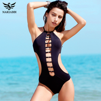 NAKIAEOI 2017 New Sexy One Piece Swimsuit Women Swimwear Cut Out Halter Bodysuit High Neck Bathing