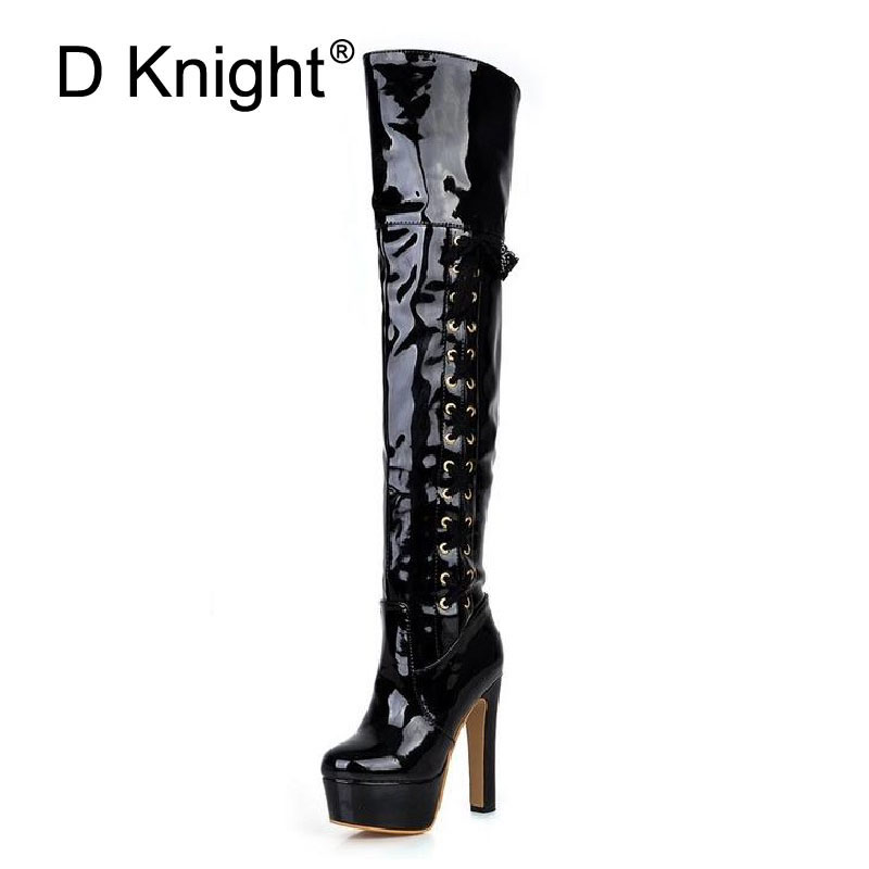 Ladies Thigh High Boots Steel Pipe Dance Boots Women Platform Over The Knee High Heels Boots Red Black White Shoes Woman Size 43 canvas shoes women black red jazz shoes ballet dance shoes split heels sole sl02138b2
