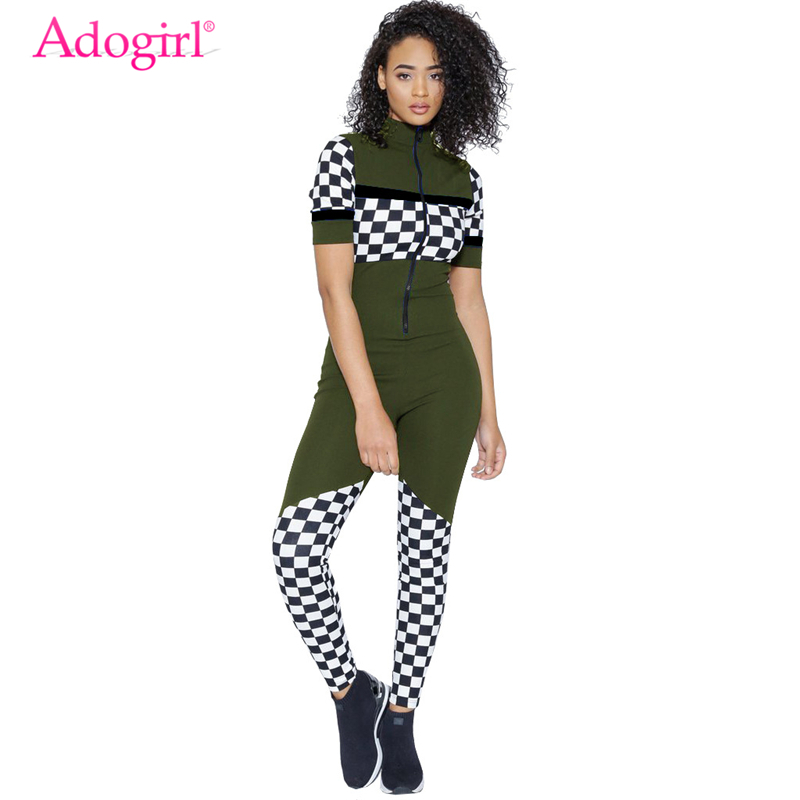 Adogirl Women Sexy Bandage Jumpsuits Race Suit Plaid Print Short Sleeve Summer Rompers Ladies Club Overalls Skinny Tracksuits