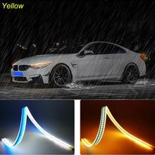 2pcs 45cm Daytime Car Running Lights Turn Signal Lamp LED DRL Strip Light 12V Amber Car Headlight Strip For Mini Cooper R56 R53 недорого