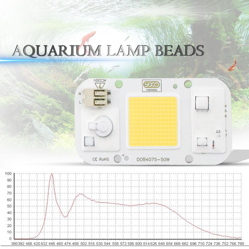 AC 110V 220V DOB COB LED Chip Aquarium Lamp 380Nm-840Nm 50W Full Spectrum White Aquatic Plant Grow Blub Sea Grass Water Coral