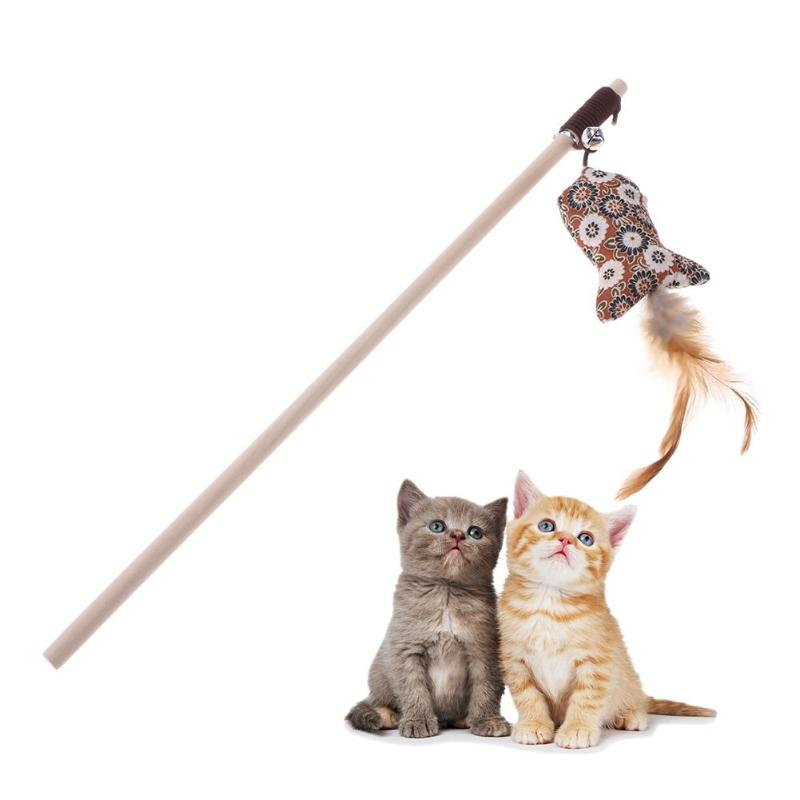 1 Pcs Feather Cat Toys Funny Bell Rod Toys for Cat Kitten Playing Interactive Toy Cat Supplies
