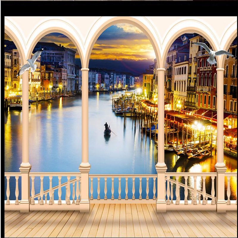 Us 8 85 41 Off Beibehang Wallpaper Italy Venice Art Night Landscape Arch Living Room Sofa Background Large Mural 3d Wall Murals Wallpaper In