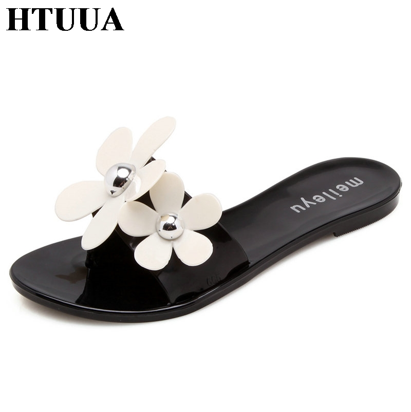 HTUUA New Summer Jelly Shoes Women Slippers Fashion Flowers Flats Sandals Top Quality Solid Flip Flops Boho Beach Slides SX1318 6cm high heels women slides ladies slippers sandals flips flops 2018 summer beach platform shoes woman fashion comfortable flats