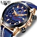 LIGE новые мужские часы Топ Роскошные Кварцевые часы синие повседневные кожаные военные часы мужские водонепроницаемые спортивные часы Relogio ...