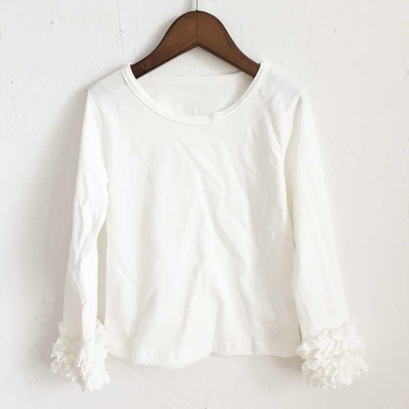 Putih Ruffle Lengan Icing Putih T Kemeja Fashion Natal Gaun Ruffle Jatuh Musim Semi Kemeja Grosir Solid Ruffle Kemeja