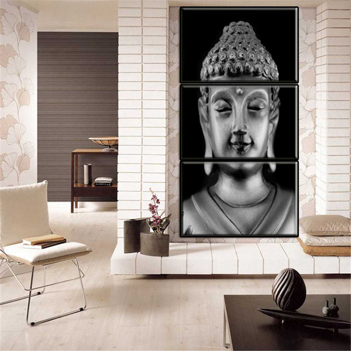 Meditation Art Painting-Print Ornaments Pictures Canvas Wall Unframed Buddha 3-Panels