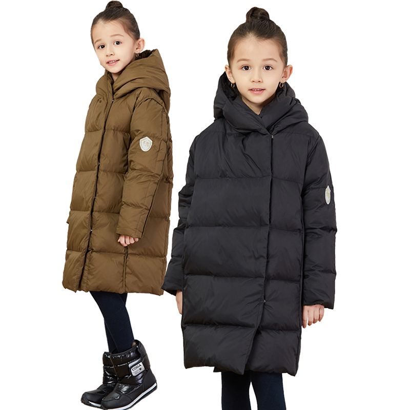 HSSCZL Girls Down Jackets 2018 New Girl Children Down Jacket Winter Thicken Hooded Solid Long Style Outerwear Parkas Overcoat hijklnl 2017 new winter female cotton jacket long thicken coat casual korean style women parkas overcoat hyt002
