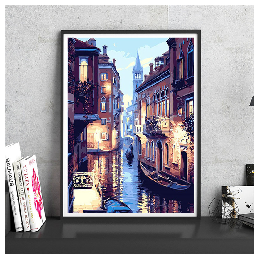 DIY Digital Paint Number Canvas Oil Painting Venice Night View Modern Home Decoration Cafe Wall Picture Living Room Print Poster
