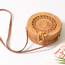цена на women bamboo handbag clutch purses and handbags shoulder bag crossbody bags for women Circular Hollow Out Vintage beach bag
