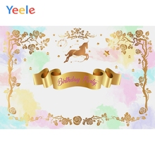 Yeele Unicorn Flowers Birthday Holy Communion Party Personalized Photographic Backdrops Photography Backgrounds For Photo Studio
