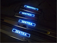 for Nissan New Sentra 2012 2016 Automobile Door Sill With LED Strip Welcome Pedal Car Styling Stickers Accessories 4PCS