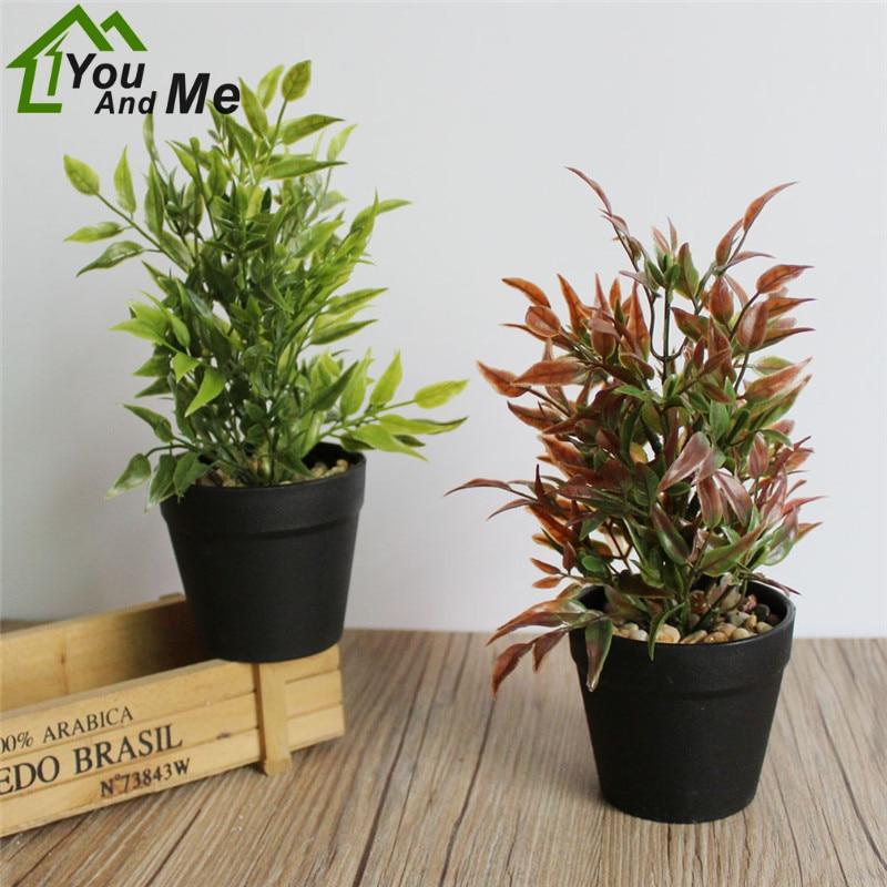 1 Set Artificial Plant Bonsai + Black Plastic Flowerpot With Stone Home Garden Wedding Xmas Party Decoration