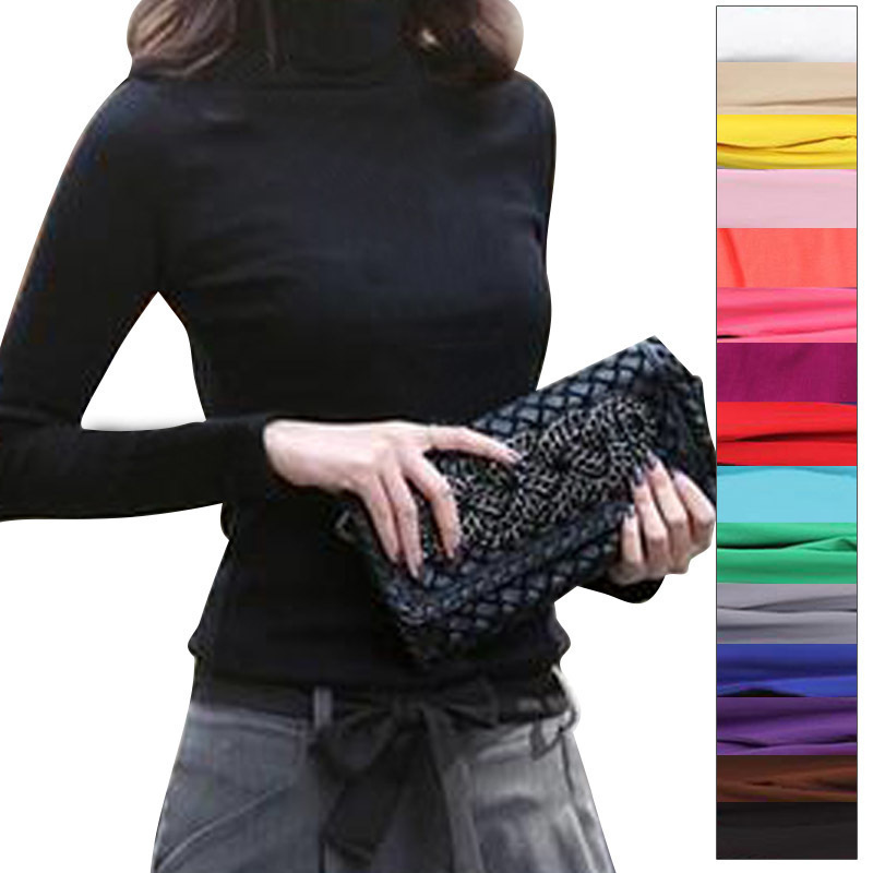 2017 High Elastic quality Fashion Autumn Winter sweater women wool turtleneck pullovers long sleeve women clothing big size 11