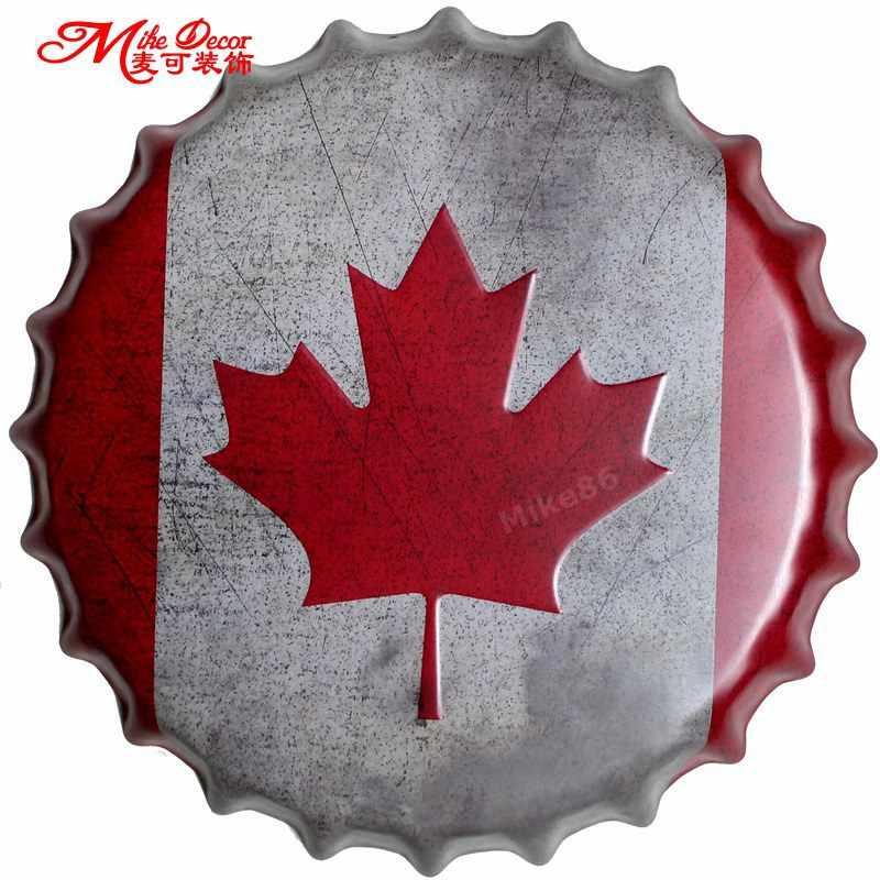 "[Mike86] כובע בקבוק עלה אדר קנדה דגל ציור קיר ציור Vintage מתכת פלאק מועדון מפלגת בית תפאורה בר סימן פח 35 ס""מ AG-664"