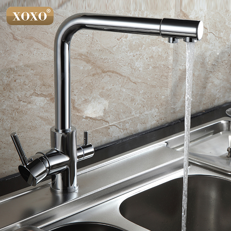XOXO Brushed Nickel Kitchen Faucet Pure Water Spout Tap Single Hole Vessel Sink Mixer Tap 83027C golden brass kitchen faucet dual handles vessel sink mixer tap swivel spout w pure water tap