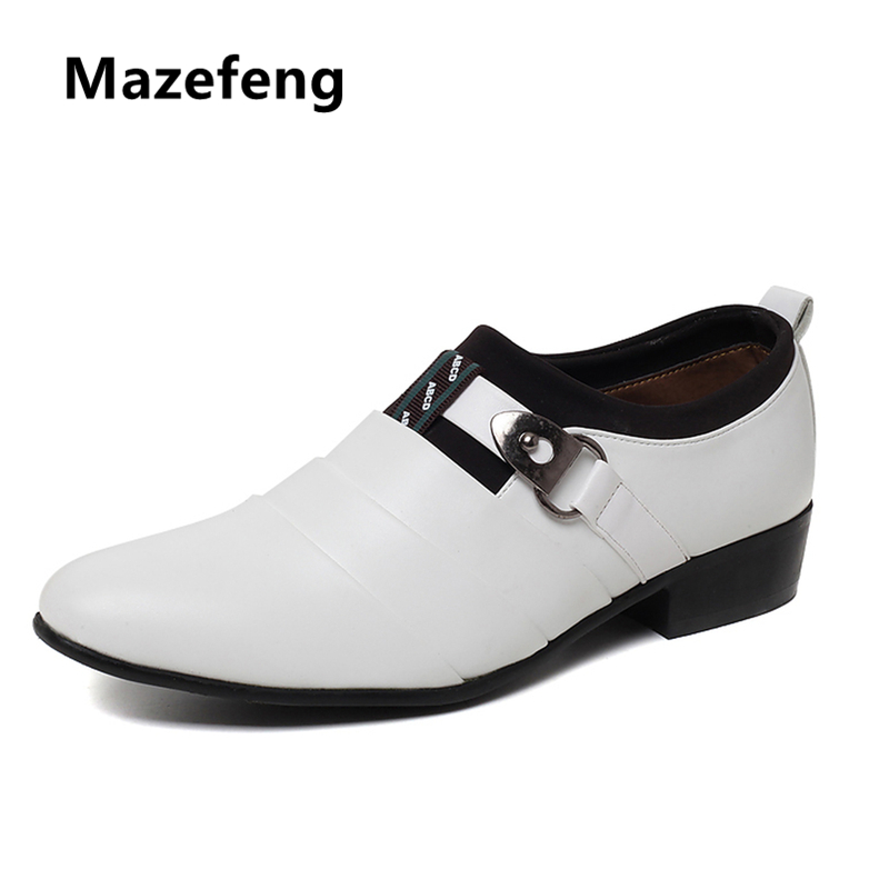 Mazefeng 2018 New Summer Men Dress Shoes Wear-resisting Men Leather Shoes British Style Male Business Shoes Slip-on Pointed Toe mazefeng new fashion 2018 spring autumn men dress shoes business male leather shoes solid color men work shoes slip on round toe