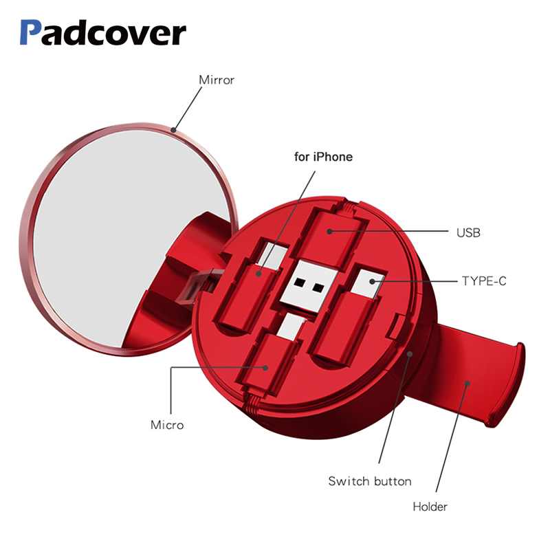 PADCOVER Micro USB Type C Cable for IPhone XS Max X 8 7 6s Nokia 8 Powder Cake Box Hidden 3 In 1 USB Retractable Charging Cable|Mobile Phone Cables|   - AliExpress