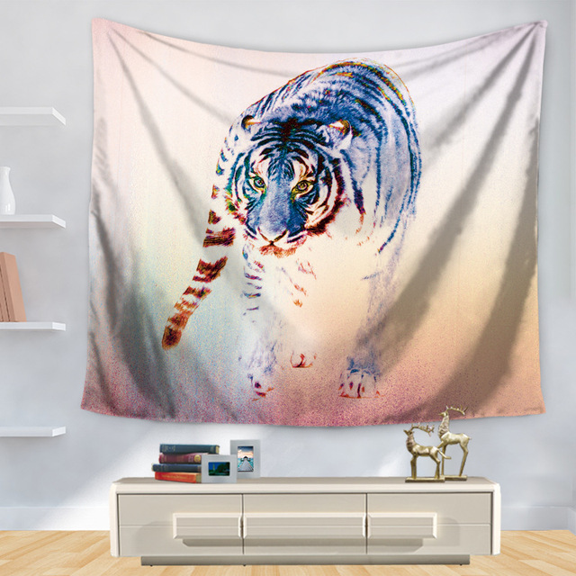 Tiger Tapestry Polyester Printed Southeast Asia Wall Decoration Home Hanging Mandala Toalla Playa Bohemian Decor Hippie Tapestry