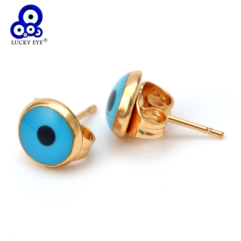 Glück Auge Gold Farbe Blau Bösen blick Stud Ohrringe Runde Türkischen Auge Ohrringe Mode Handgemachten Schmuck für Frauen Damen EY6372