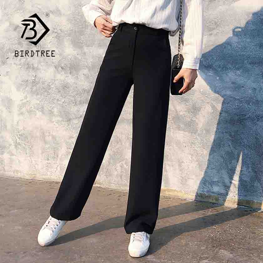 Spring New Office Lady Elegant Casual Fashion High Waist Wide Leg Black Pants Full Length Pant Woman Hot Sales B83813F