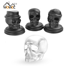 WOWCC 1PC Skull Head Shaped Silicone Ice Cube Maker Ice Mold Whiskey Cocktail Ice Ball Maker Large Ice Cube Bar Tool