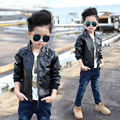 2016 Зима новый детская одежда мода стиль мальчиков пальто из искусственного кожаные куртки дети A263