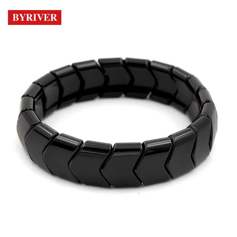 Купить с кэшбэком Natural Real Tourmaline Health Bracelet Germanium Stone Negative Ion Energy Magnetic Healthcare Hand Chain for Men Women