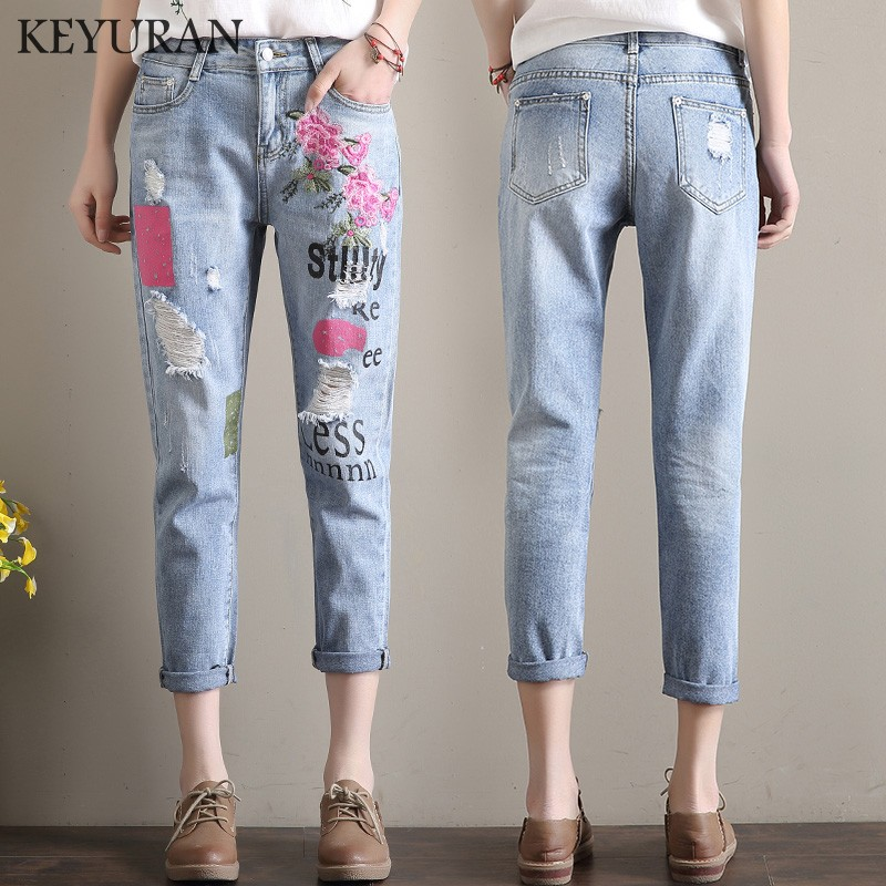 Plus Size XL-5XL Floral Embroidered Jeans For Women Summer Letter Print Casual Loose Female Hole Cuffs Denim Harem Pants Femme