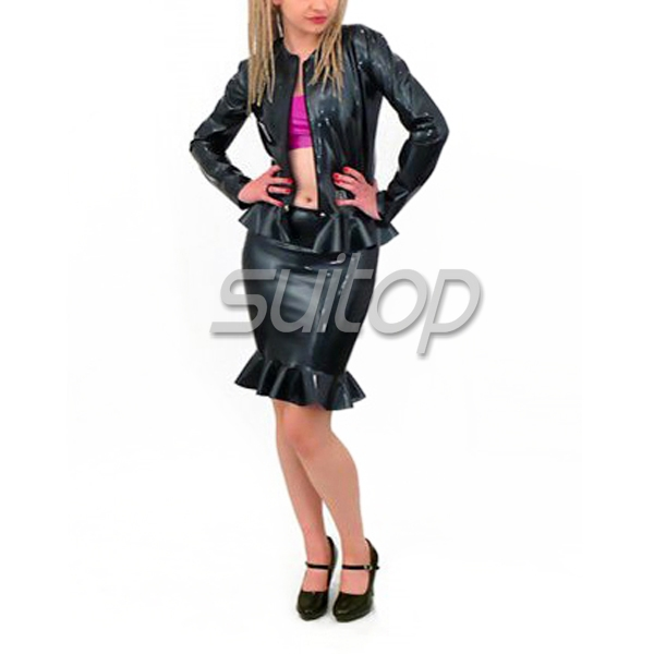 ФОТО Latex rubber jacket with valance for woman