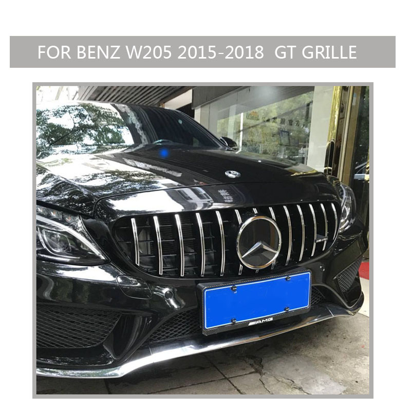 w205 Grille black Emblem Front Bumper mesh Radiator  Grill  For  benz w205 c-class 2015~2018 Car 03