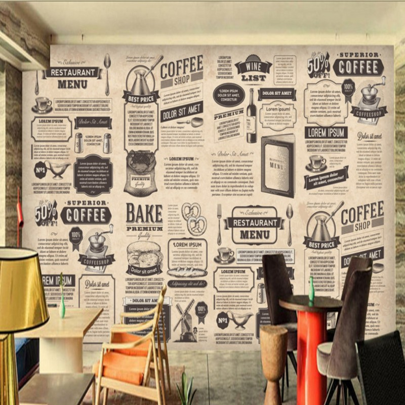 Retro hand painted wallpaper coffee dining living room bedroom wallpaper cafe lobby restaurant mural custom Wallpaper