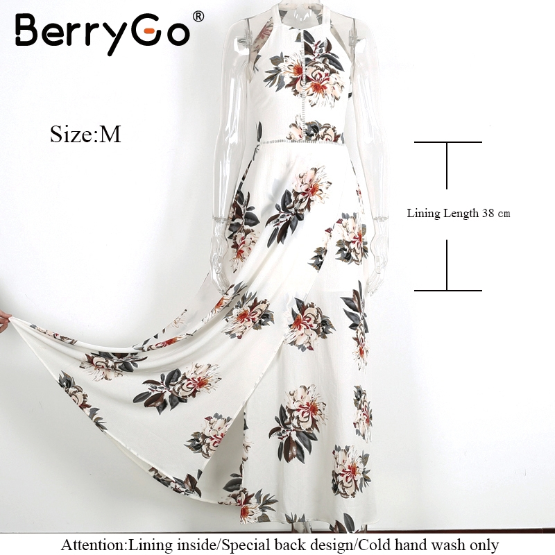 BerryGo Floral print halter chiffon long dress Women backless 2017 maxi dresses vestidos Sexy white split beach summer dress 5