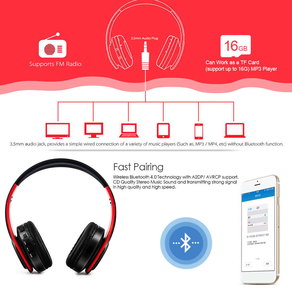 fashion wireless headphone foldable bluetooth 4 0 stereo headset 3 5mm wired sports headphones with mic for smart phone computer in bluetooth earphones  [ 1000 x 1000 Pixel ]