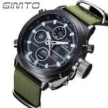 GIMTO Quartz Numérique Sport Montres Armée De Mode Cool Hommes Militaire Montre Toile De Sports De Courroie Casual LED Numérique Horloge