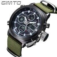 GIMTO Quartz Digital Sports Watches Fashion Army Cool Men Military Watch Canvas Strap Sports Casual