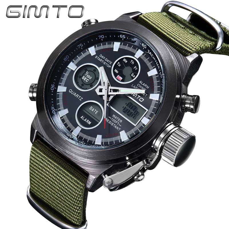 GIMTO Quartz Digital Sports Watch Fashion  Army Cool Men Military Watches Casual LED Digital Clock ohsen outdoor casual men sports watch waterproof fashion digital quartz military army male clock men s watches reloj relojes405