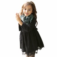 2017 New Autumn Winter Lovely Kids Girl Lace Princess Dress Plus Velvet Children Korean Style Fashion