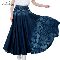2016 Autumn Skirt Jeans Skirt Korean Waisted Plaid All Match Washed Denim Skirt A Large Swing